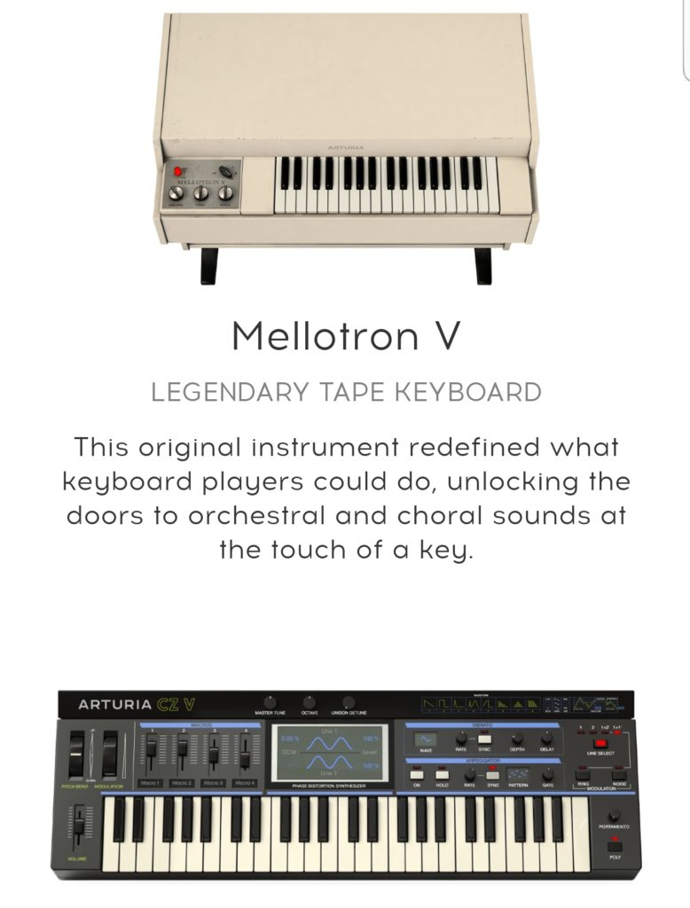 Arturia launches new V collection with mellotron v and cz-v